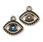 TierraCast Evil Eye Charm with Swarovski Metallic Blue SS20 Crystal, Brass Ox